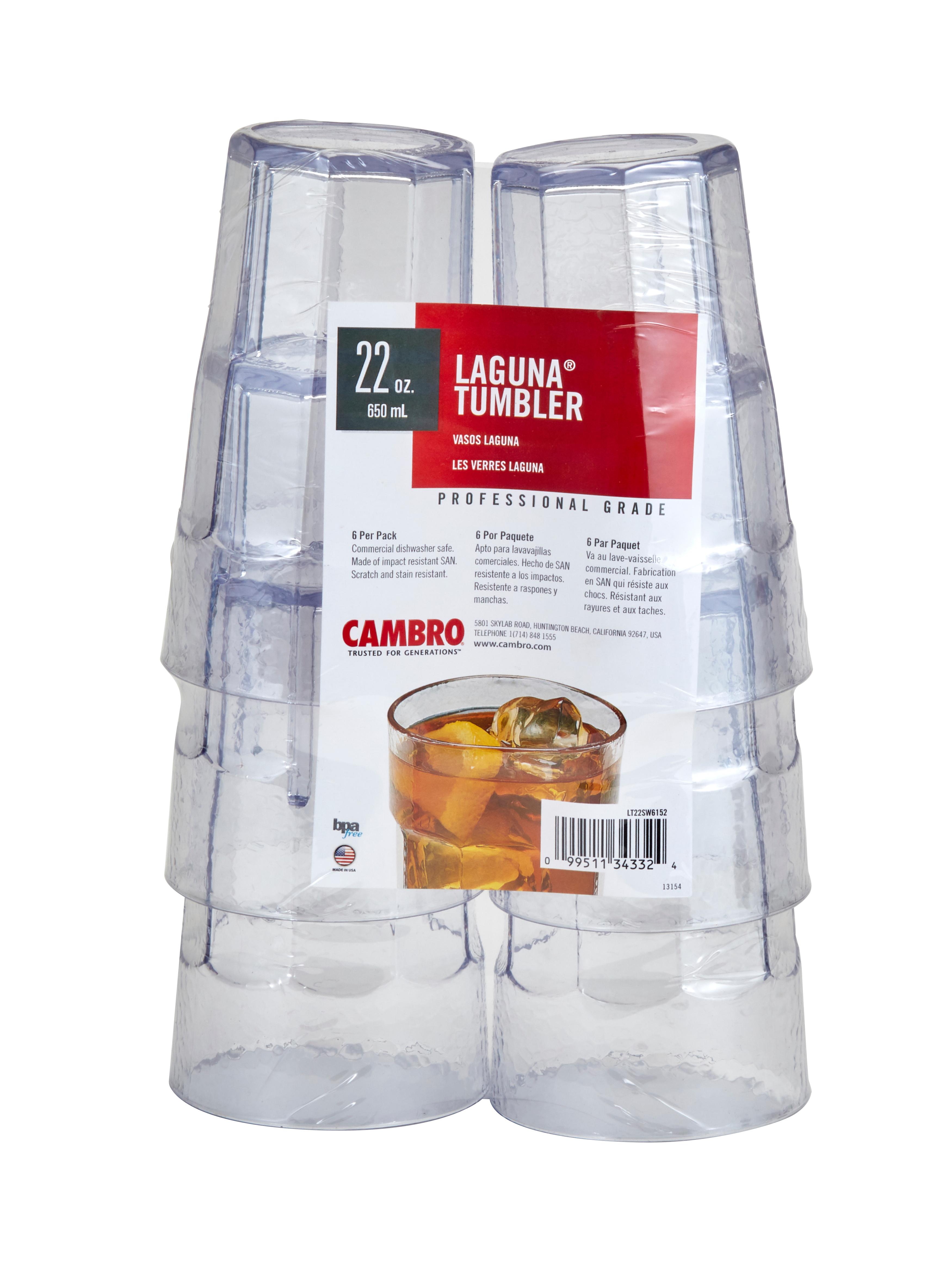 Cambro LT22SW6152 serving/drinking glasses