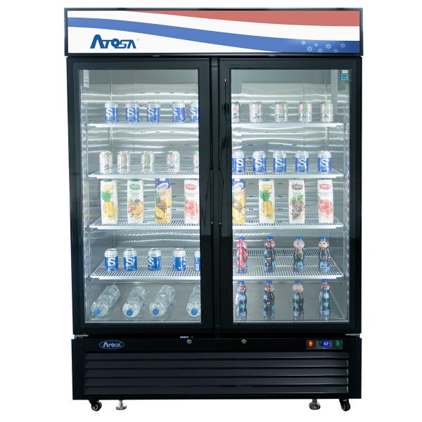 Atosa USA MCF8721ES black exterior glass two (2) door merchandiser freezer