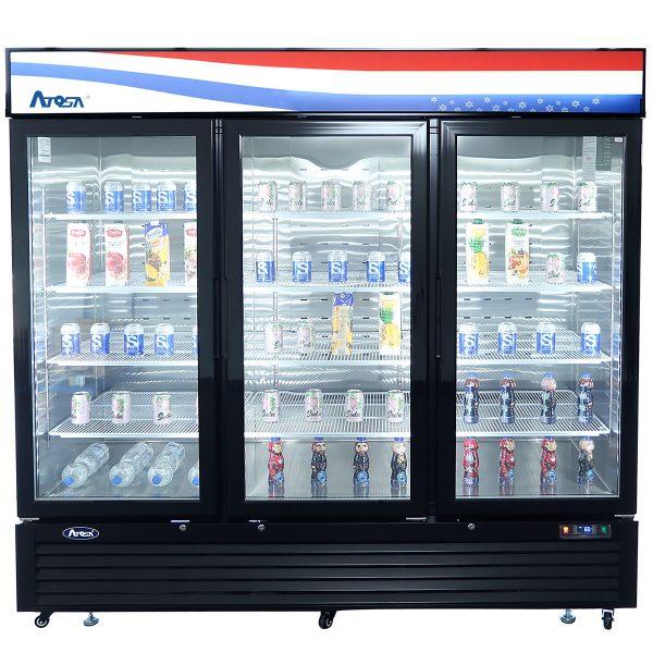 Atosa USA MCF8728GR black exterior glass three (3) door merchandiser freezer