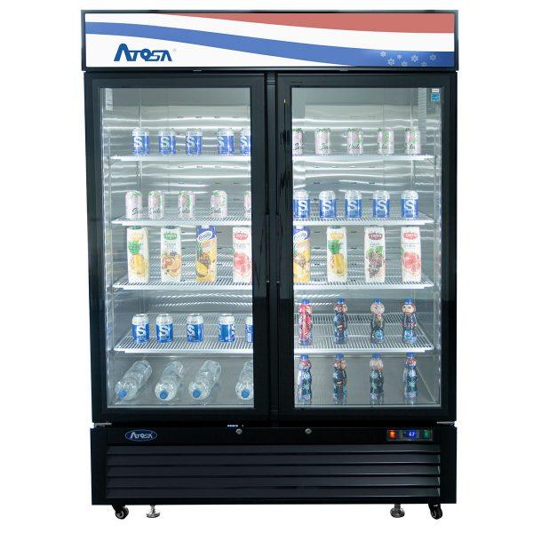 Atosa USA MCF8733GR black exterior glass two (2) door merchandiser refrigerator