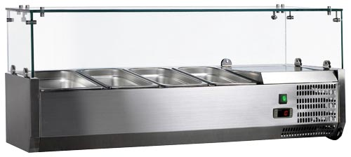 Omcan RS-CN-0004-P featured products|refrigeration > refrigerated prep tables > refrigerated topping rails with sneeze guard