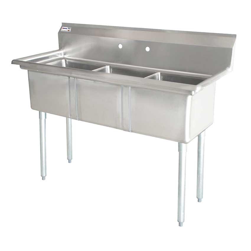 Omcan 22114 tables and sinks > sinks > pot sinks > three tub pot sinks