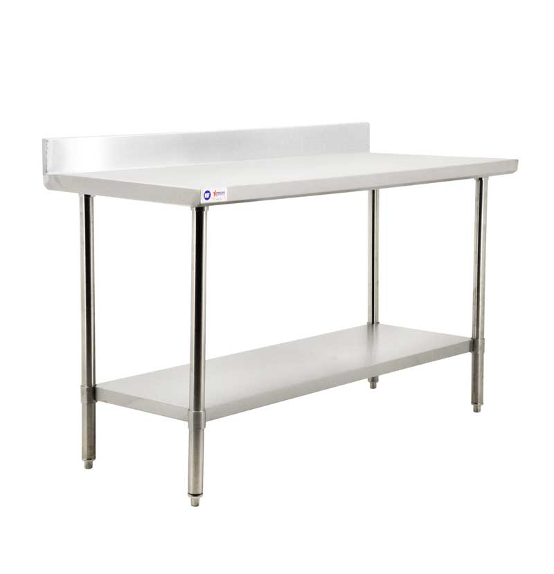 Omcan 44349 all stainless steel worktables with backsplash