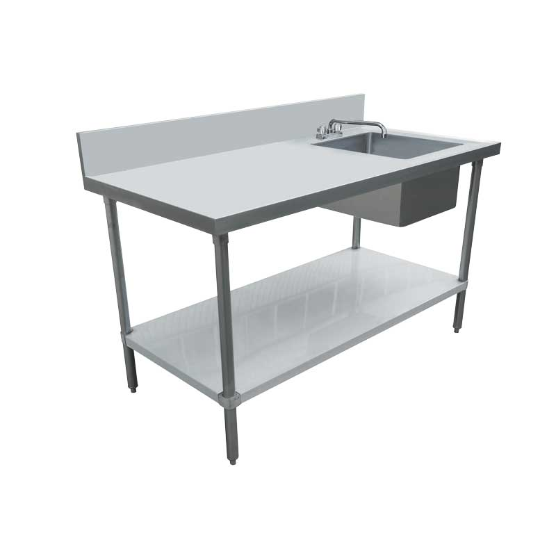 Omcan 44302 all stainless steel tables with sinks
