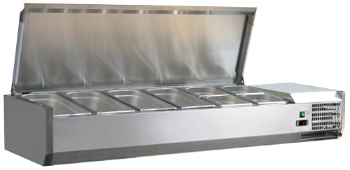 Omcan RS-CN-0006-PSS featured products|refrigeration > refrigerated prep tables > refrigerated topping rail with stainless steel cover