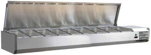 Omcan RS-CN-0009-PSS featured products|refrigeration > refrigerated prep tables > refrigerated topping rail with stainless steel cover