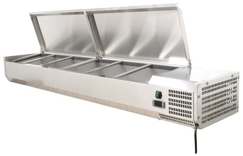 Omcan RSCN0009PSS featured products|refrigeration > refrigerated prep tables > refrigerated topping rails with sneeze guard
