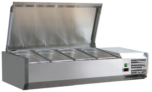 Omcan RS-CN-0004-PSS featured products|refrigeration > refrigerated prep tables > refrigerated topping rail with stainless steel cover