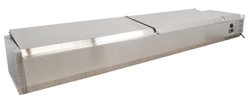 Omcan RSCN0006PSS featured products|refrigeration > refrigerated prep tables > refrigerated topping rails with sneeze guard