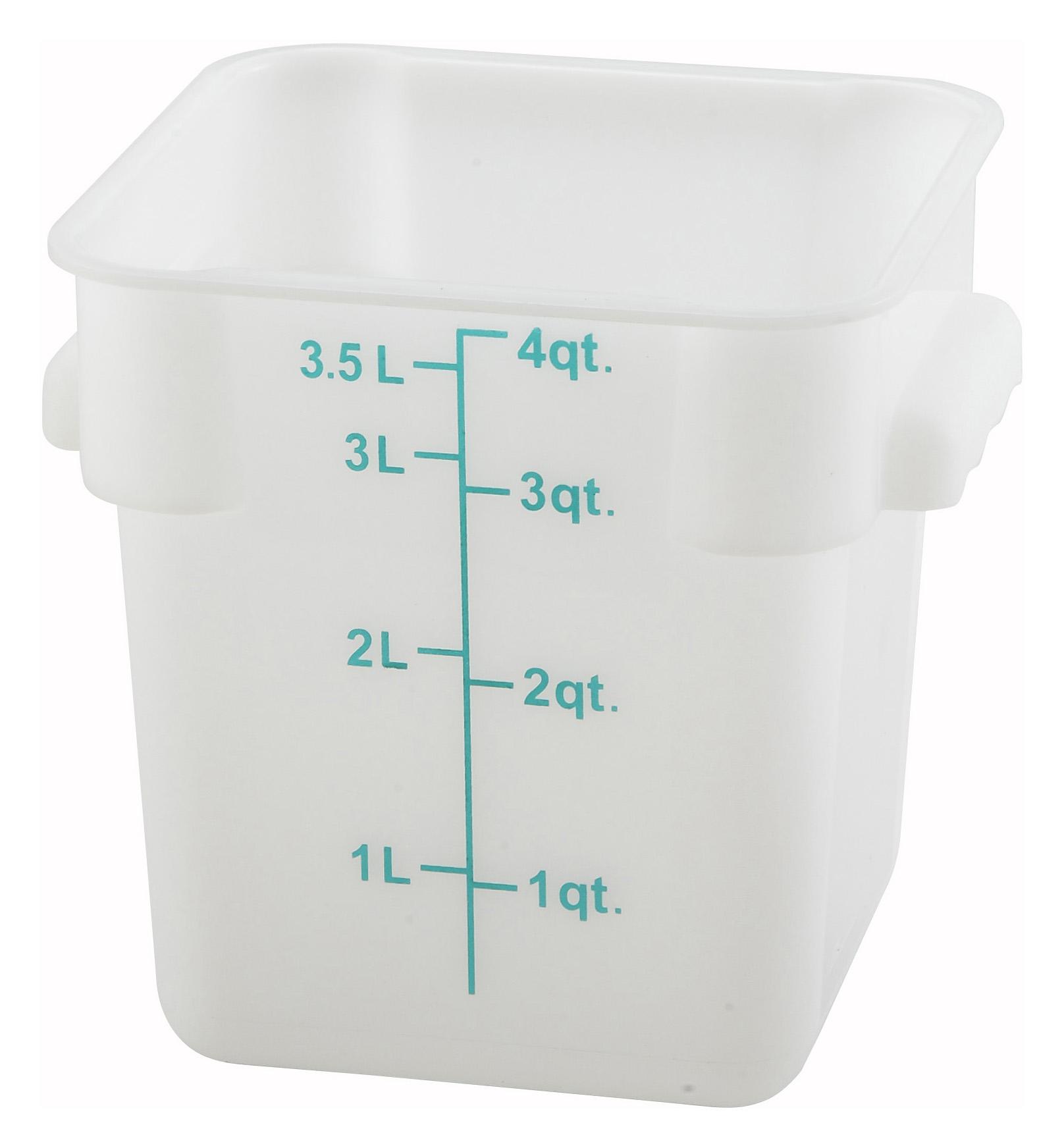 Winco PESC-4 square food storage containers