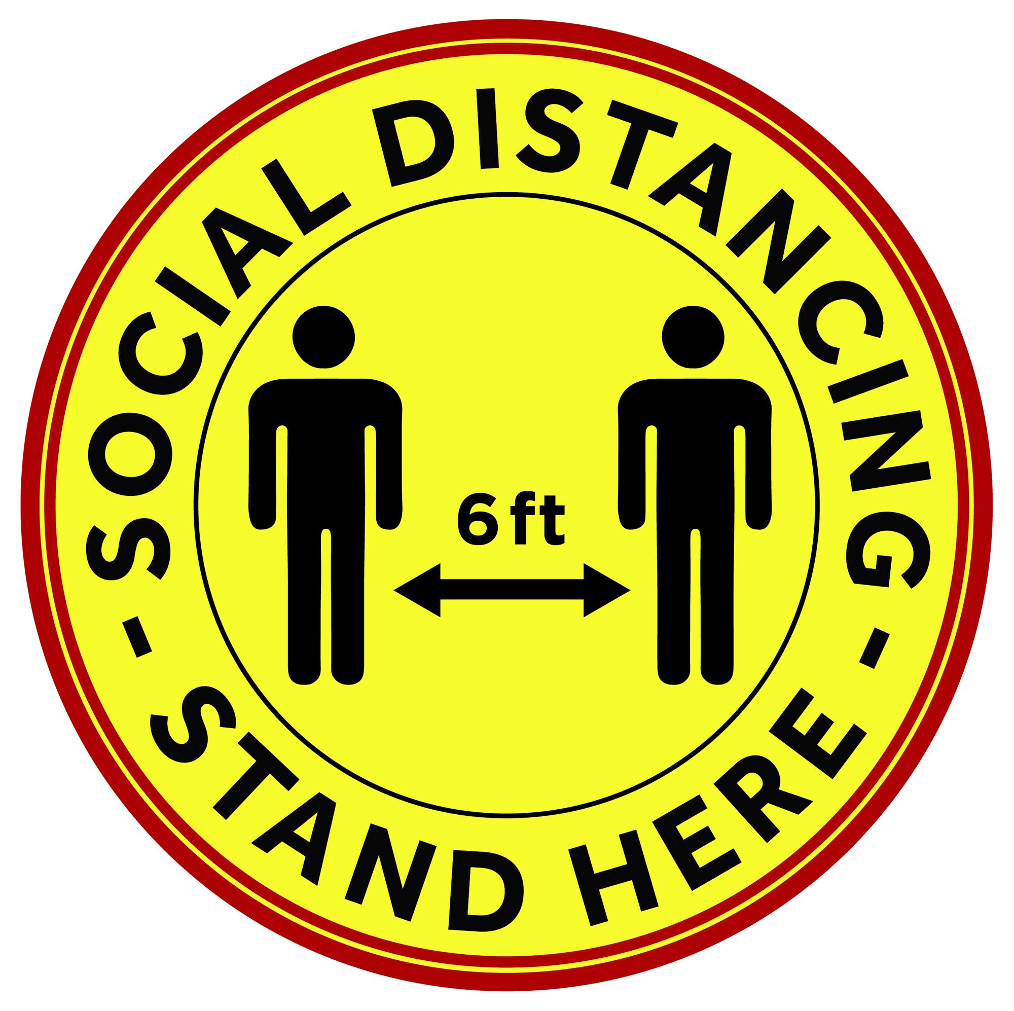 Winco PFD-12Y social distancing floor decal