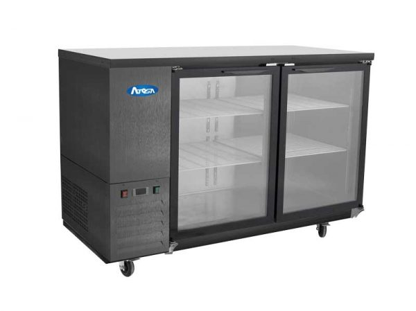 Atosa USA SBB59GGRAUS2 shallow depth glass door back bar coolers