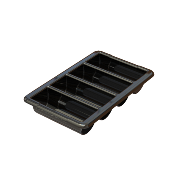 2950-65 Impact Cutlery Bin 4 section/black