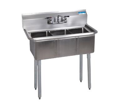 BKS-3-1014-10 BK Resources  sink, (3) three compartment