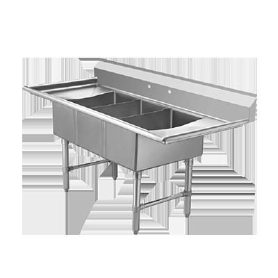 ECS3SM-2D Klinger's Trading sink, (3) three compartment