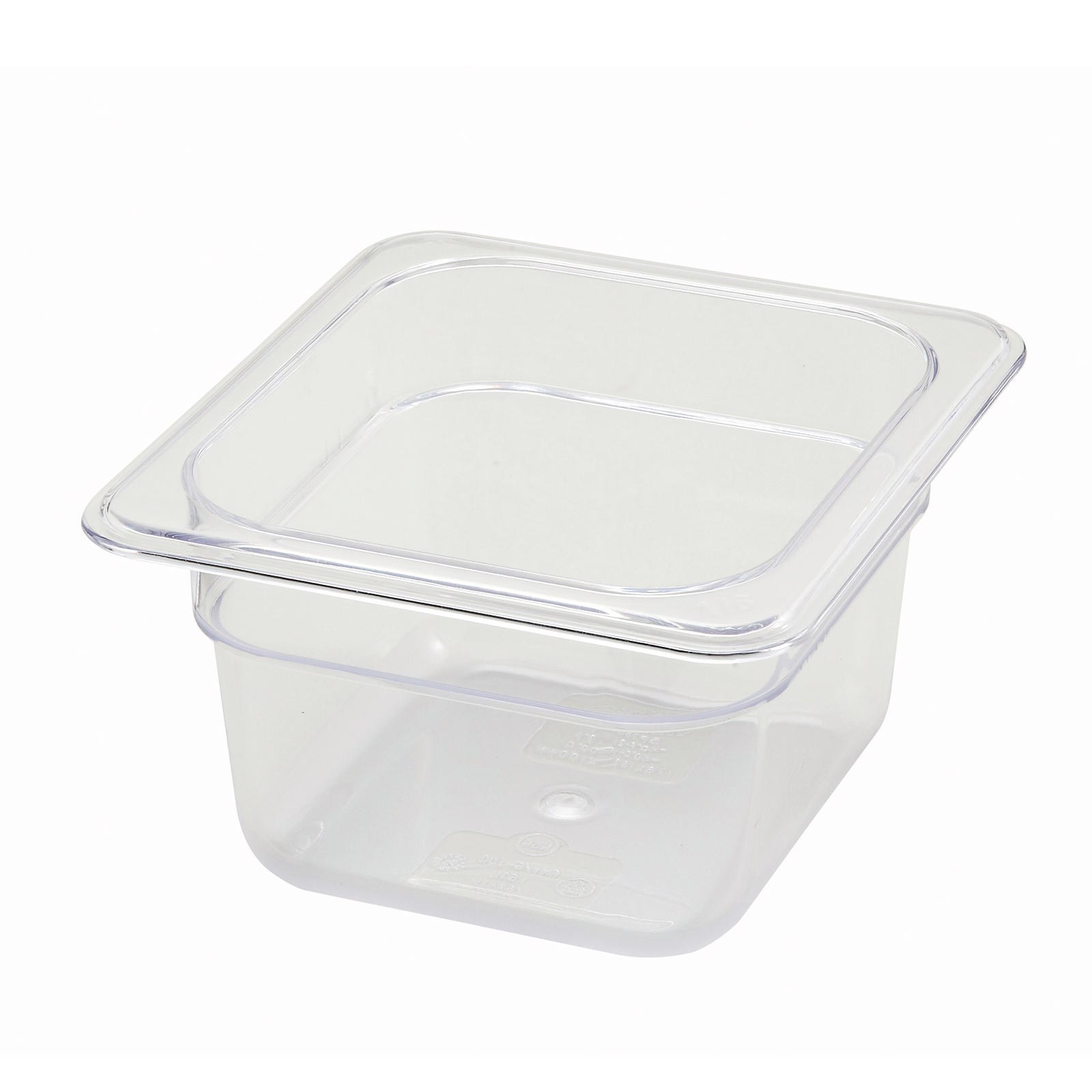 2410-036 Winco SP7604 food pan, 1/6size 4in D, clear plastic