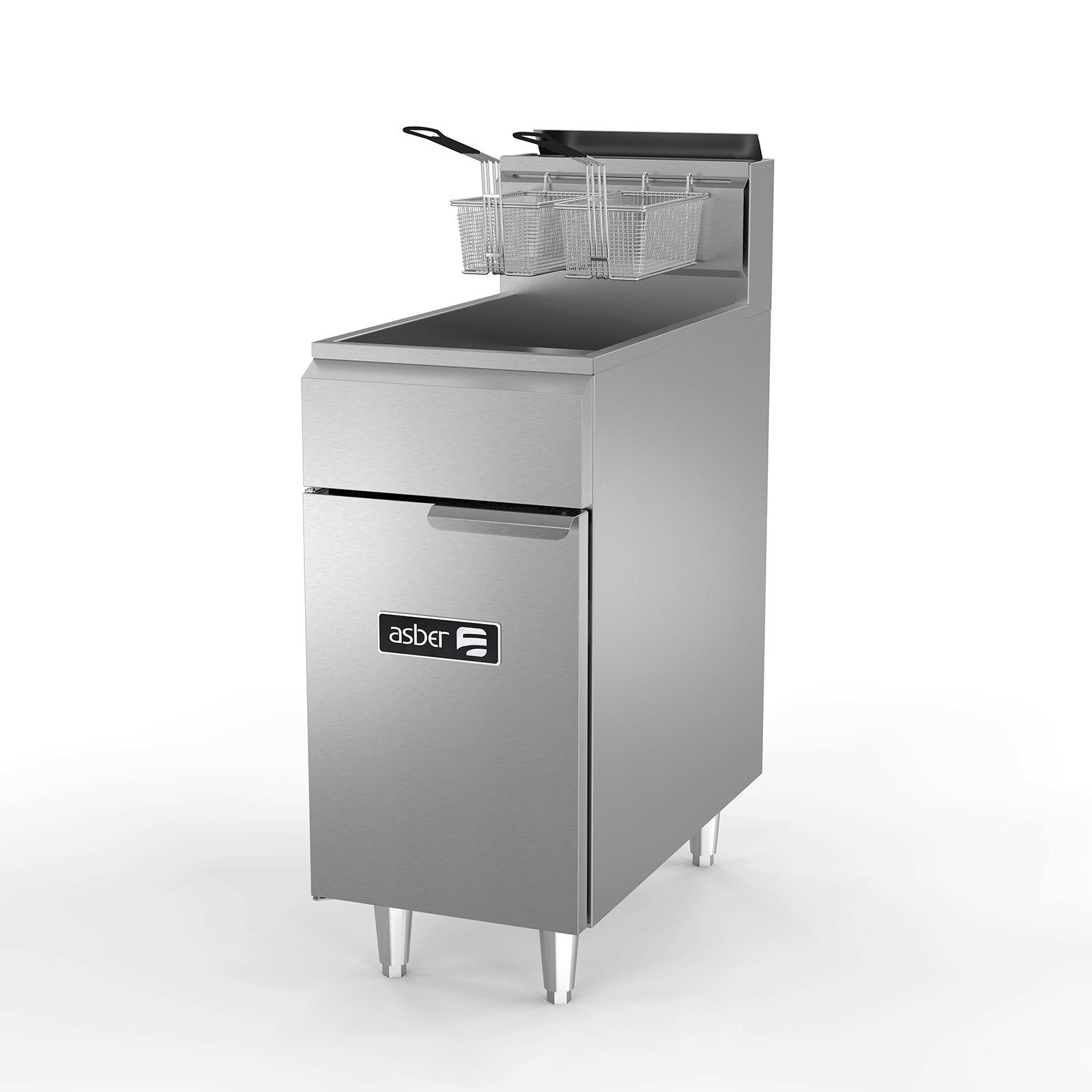 Asber AEF-4050-S fryer, gas, floor model, full pot