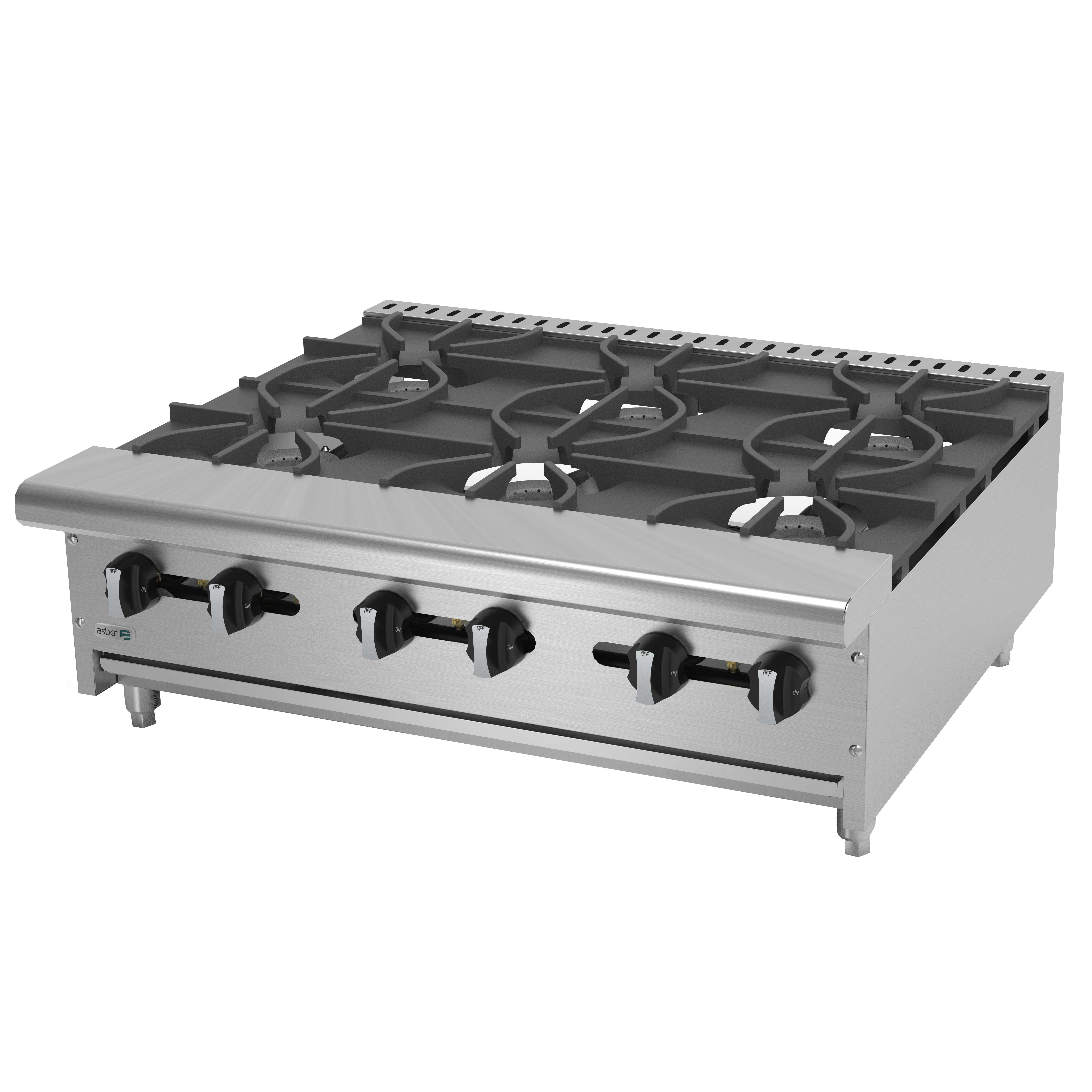 Asber AEHP-6-36 hotplate, countertop, gas