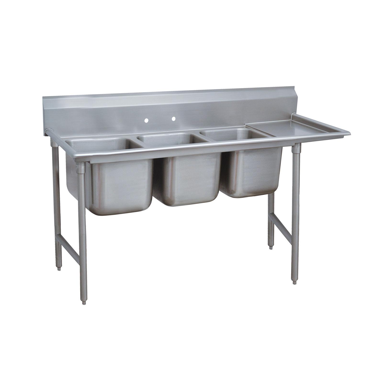 Advance Tabco 9-3-54-36R sink, (3) three compartment