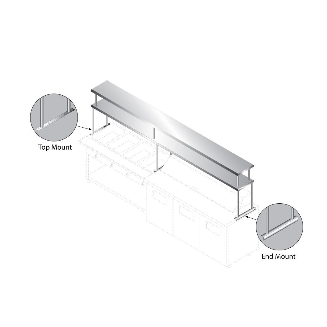 Advance Tabco CU-18-108-2 overshelf, table-mounted
