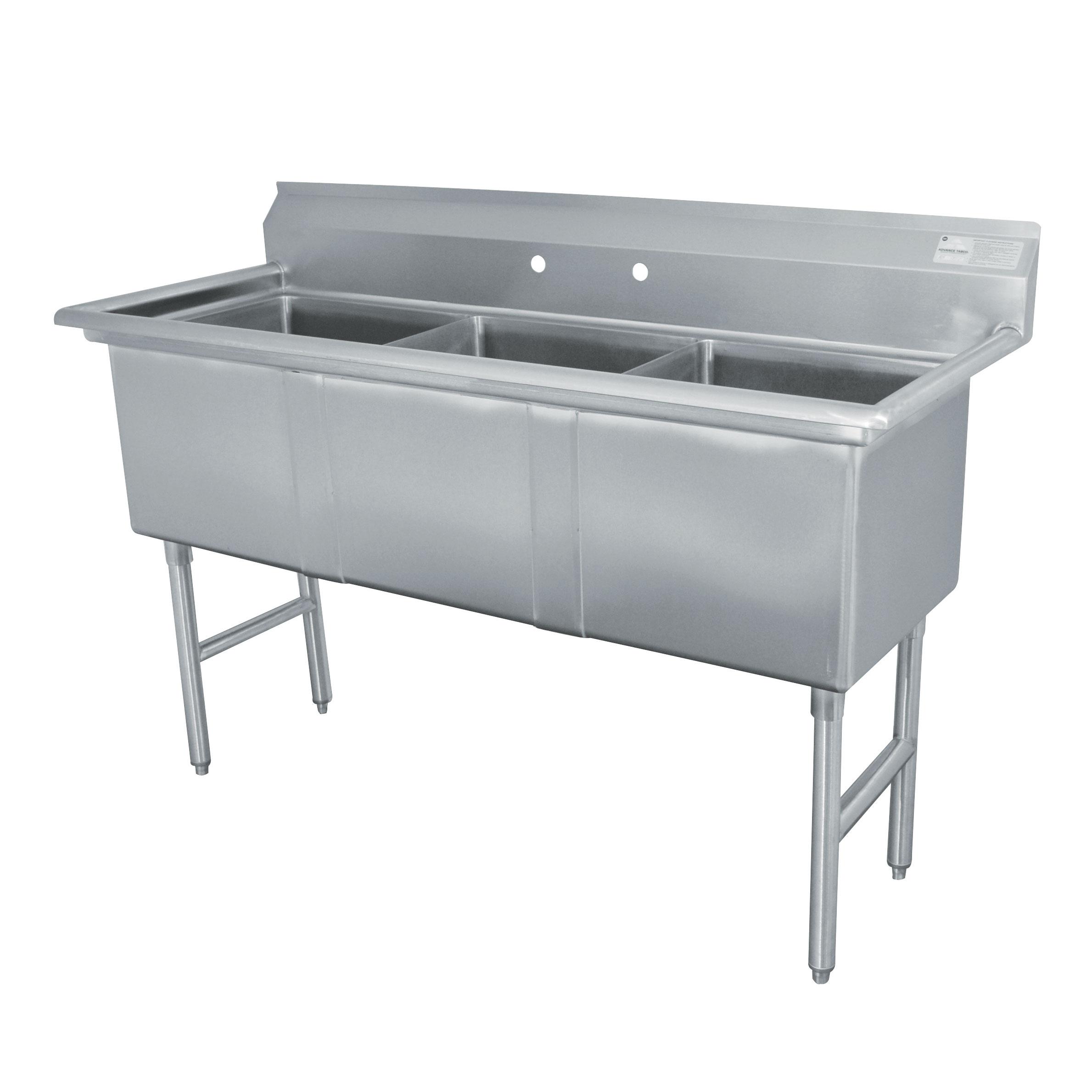 Advance Tabco FC-3-1515-X sink, (3) three compartment