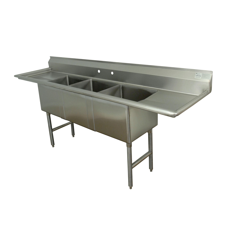 Advance Tabco FC-3-1824-24RL-X sink, (3) three compartment
