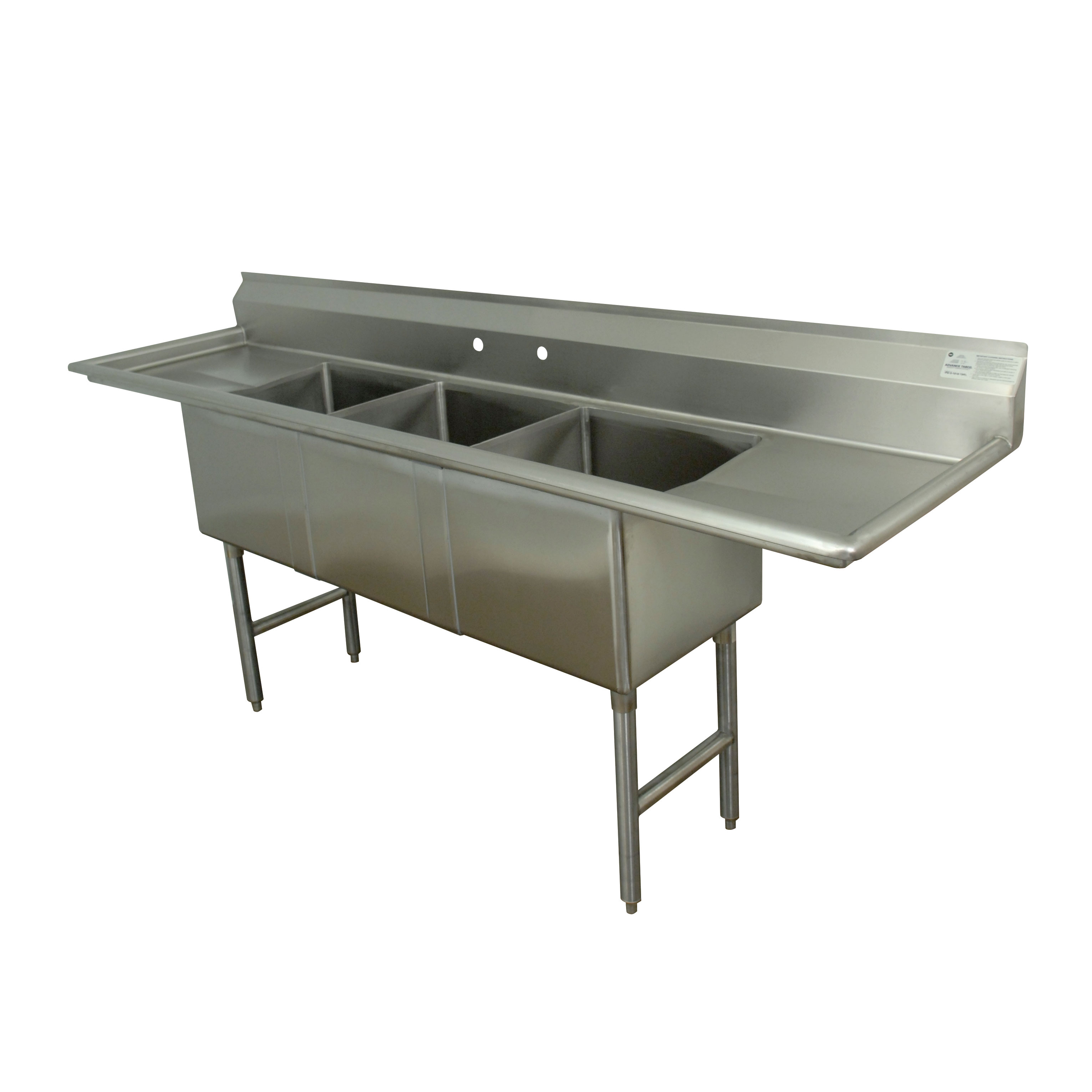 Advance Tabco FC-3-2030-30RL sink, (3) three compartment