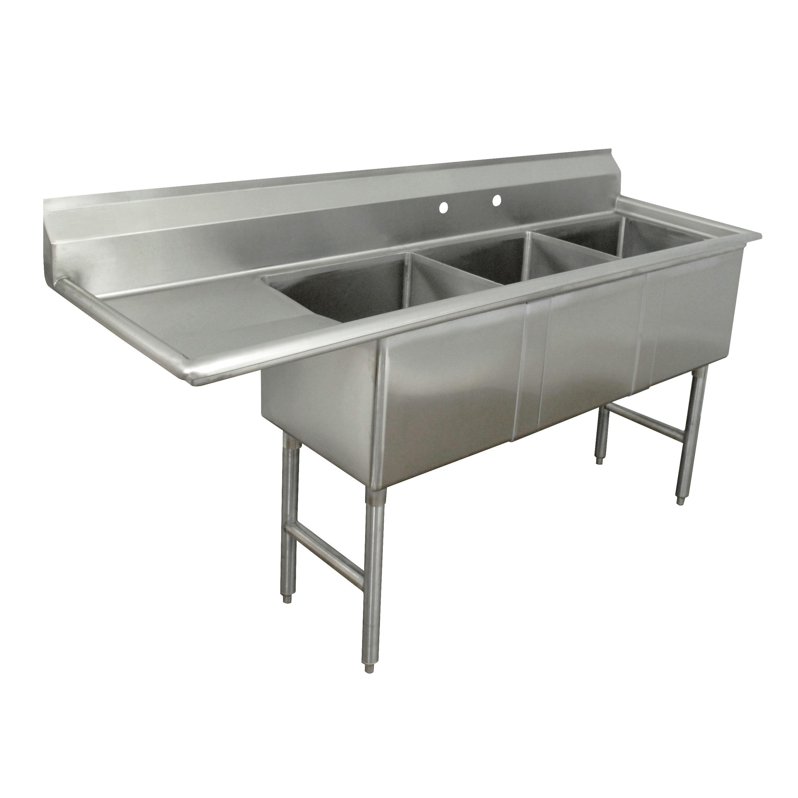 Advance Tabco FC-3-2424-24L-X sink, (3) three compartment