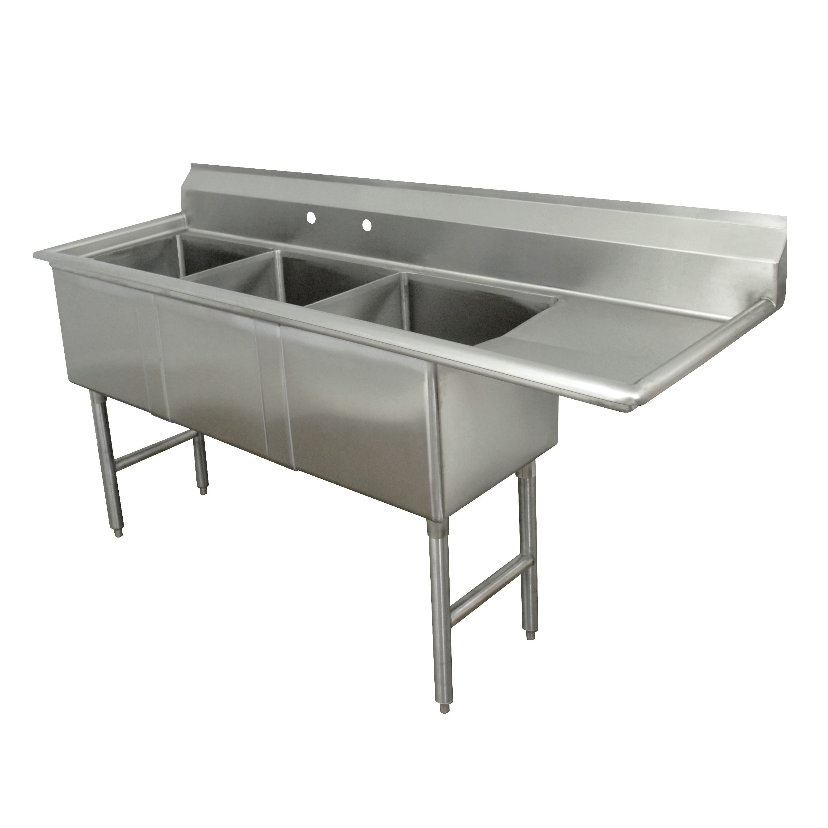 Advance Tabco FC-3-2424-24R sink, (3) three compartment