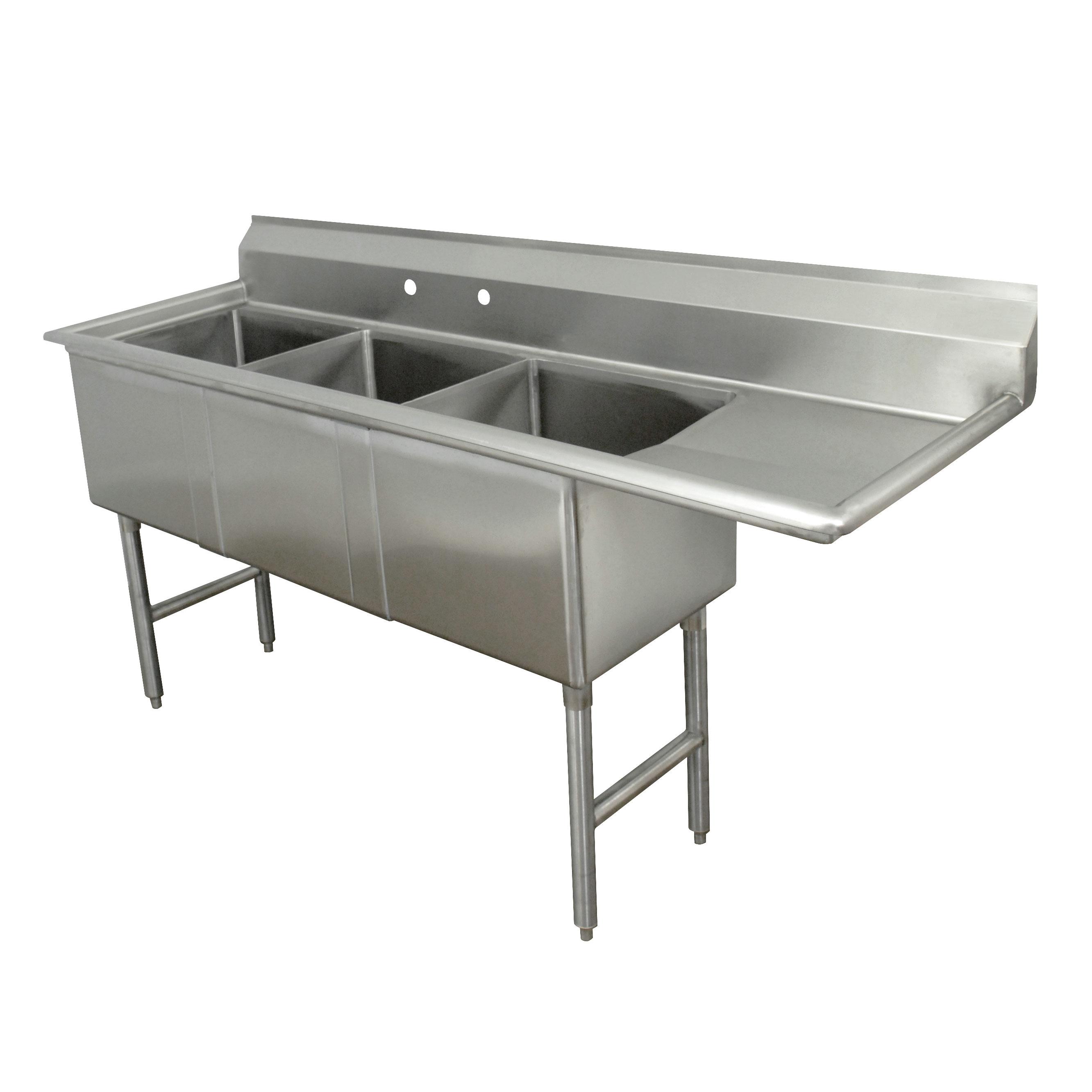 Advance Tabco FC-3-2430-30R sink, (3) three compartment
