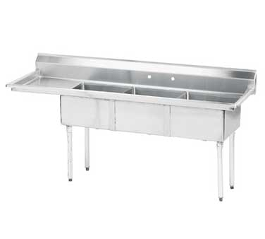 Advance Tabco FE-3-1812-18L-X sink, (3) three compartment