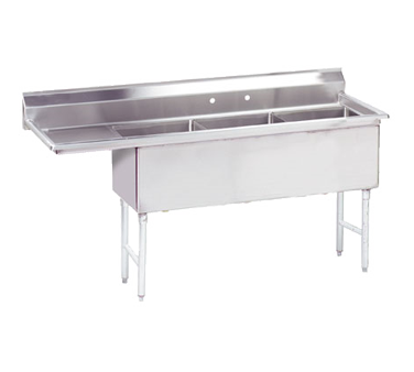 Advance Tabco FS-3-2424-24L sink, (3) three compartment