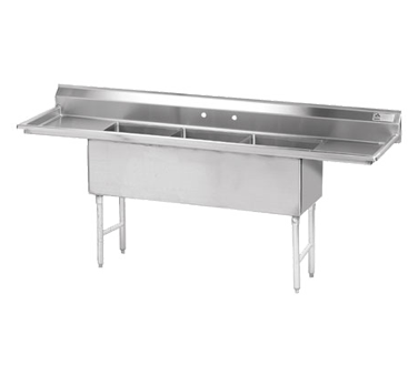 Advance Tabco FS-3-2424-24RL sink, (3) three compartment