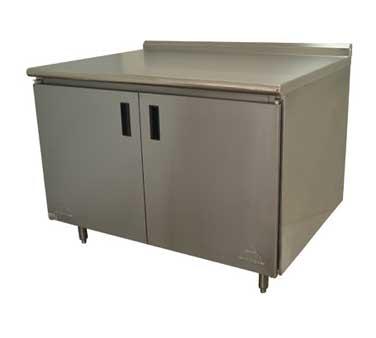 Advance Tabco HF-SS-307 work table, cabinet base hinged doors