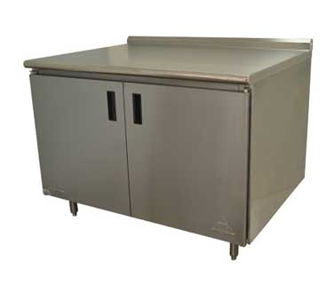 Advance Tabco HF-SS-365M work table, cabinet base hinged doors