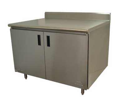 Advance Tabco HK-SS-309M work table, cabinet base hinged doors
