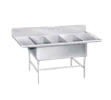 Advance Tabco K7-3-3030-24RL sink, (3) three compartment