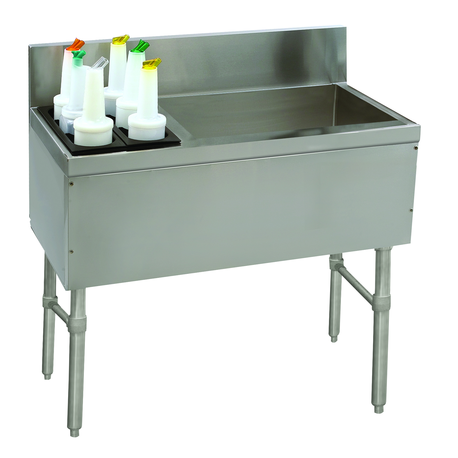 Advance Tabco PRC-19-36R-10 underbar ice bin/cocktail station, bottle well bin