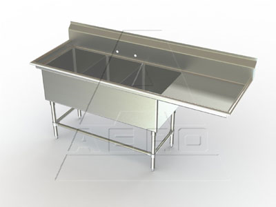 AERO Manufacturing 2F3-3020-30R sink, (3) three compartment