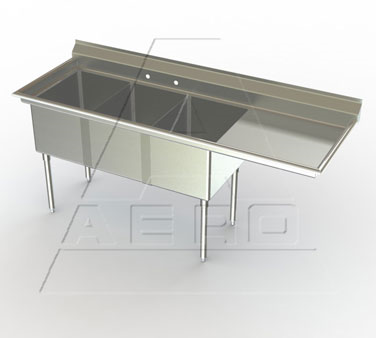 AERO Manufacturing MF3-3020-30R sink, (3) three compartment