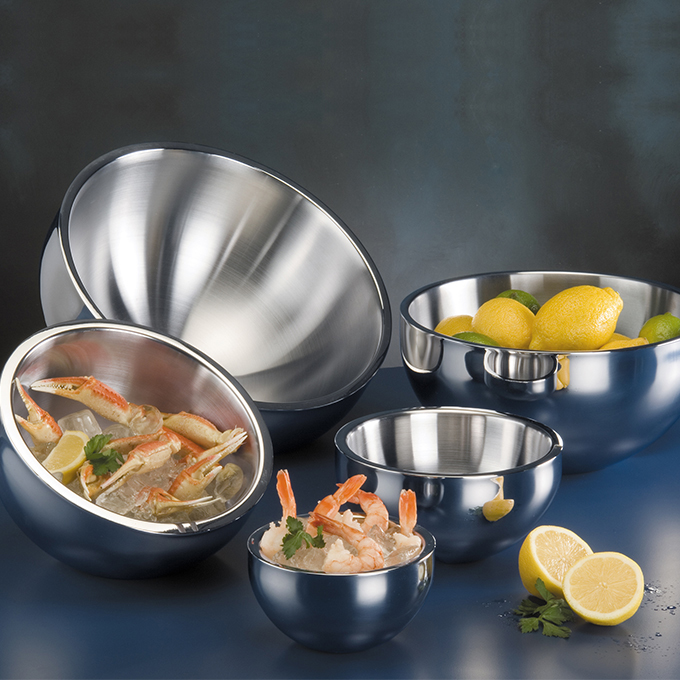 American Metalcraft AB12 bowl, stainless steel, double wall, angled
