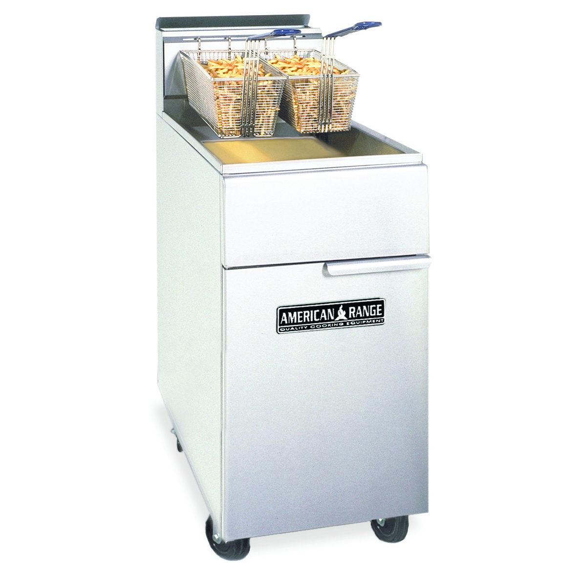 American Range AF50-HE fryer, gas, floor model, full pot