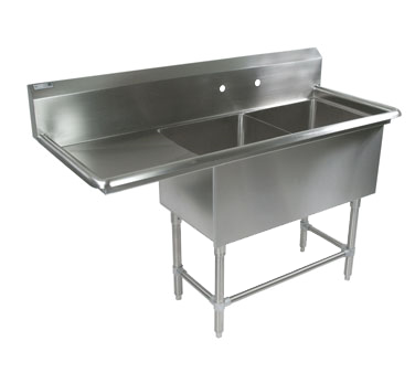 John Boos 2PB184-1D18L sink, (2) two compartment
