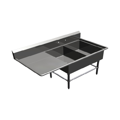John Boos 2PB20284-1D24L sink, (2) two compartment