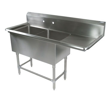 John Boos 2PB24-1D24R sink, (2) two compartment