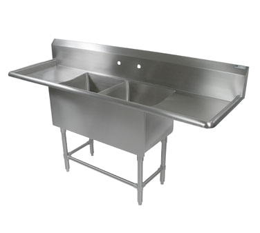 John Boos 2PB24-2D30 sink, (2) two compartment