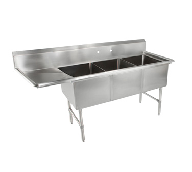 John Boos 3B184-1D18L sink, (3) three compartment