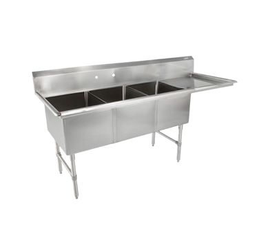 John Boos 3B184-1D18R sink, (3) three compartment