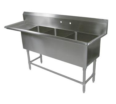 John Boos 3PB204-1D30L sink, (3) three compartment