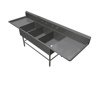 John Boos 43PB1620-2D24 sink, (3) three compartment